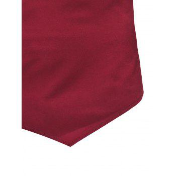 Mandarin Collar Half Button Asymmetric Tee - RED WINE L