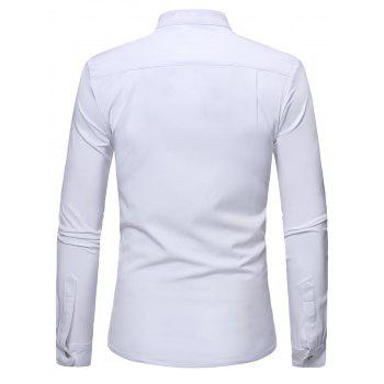 Mandarin Collar Half Button Asymmetric Tee - WHITE L