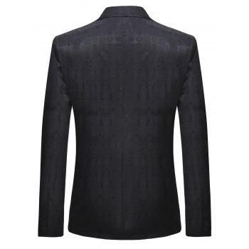 Retro Pattern One Button Lapel Blazer - BLACK L