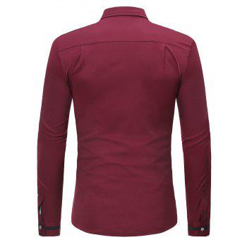 Long Sleeve Turndown Collar Contrast Shirt - RED WINE S
