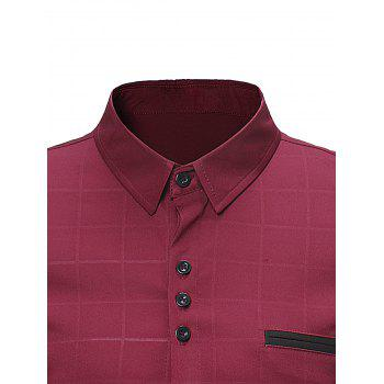 Turndown Collar Covered Button Check Shirt - RED WINE S
