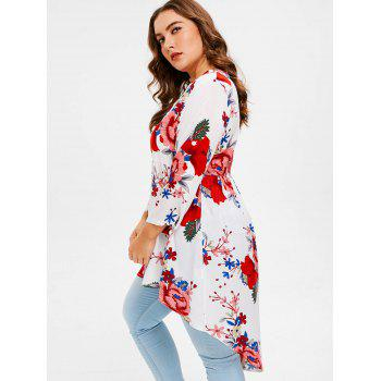 Plus Size Flowered High Low Shirt - WHITE L