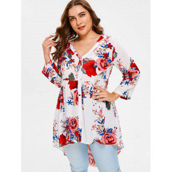 Plus Size Flowered High Low Shirt - WHITE 4X
