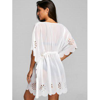 Batwing Sleeve Burn Out Cover Up Top - WHITE S
