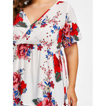Empire Waisted Plus Size Floral Surplice Blouse - WHITE 2X