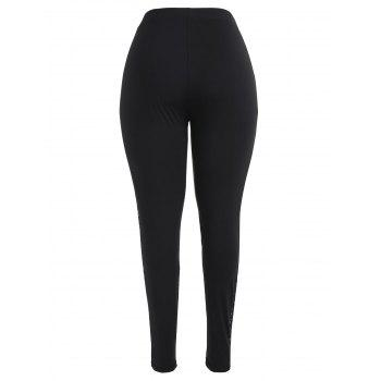 Lace Trim Plus Size Fitted Leggings - BLACK 5X