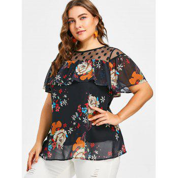Short Sleeve Plus Size Floral Blouse - BLACK L