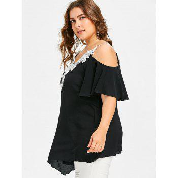 Lace Embellished Plus Size Tunic T-shirt - BLACK 3X