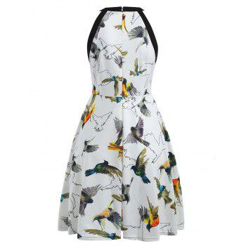 Round Neck Birds Print Fit and Flare Dress - WHITE S