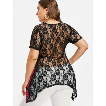 Plus Size Lace Insert Asymmetrical T-shirt - ROSE RED 5X