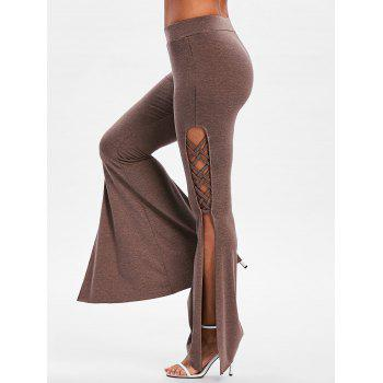 Criss Cross High Slit Flare Pants - COFFEE L
