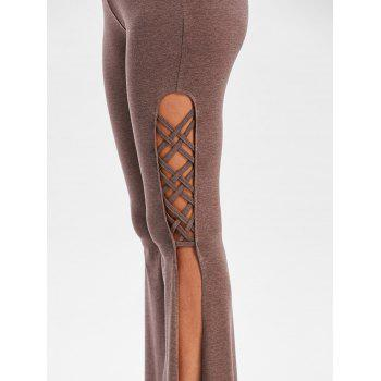 Criss Cross High Slit Flare Pants - COFFEE 2XL