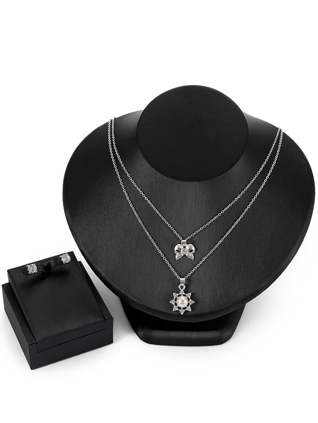 Alloy Layered Bowknot Sun Pendant Necklace Rhinestone Earrings Jewelry Set rhinestone alloy pendant jewelry set