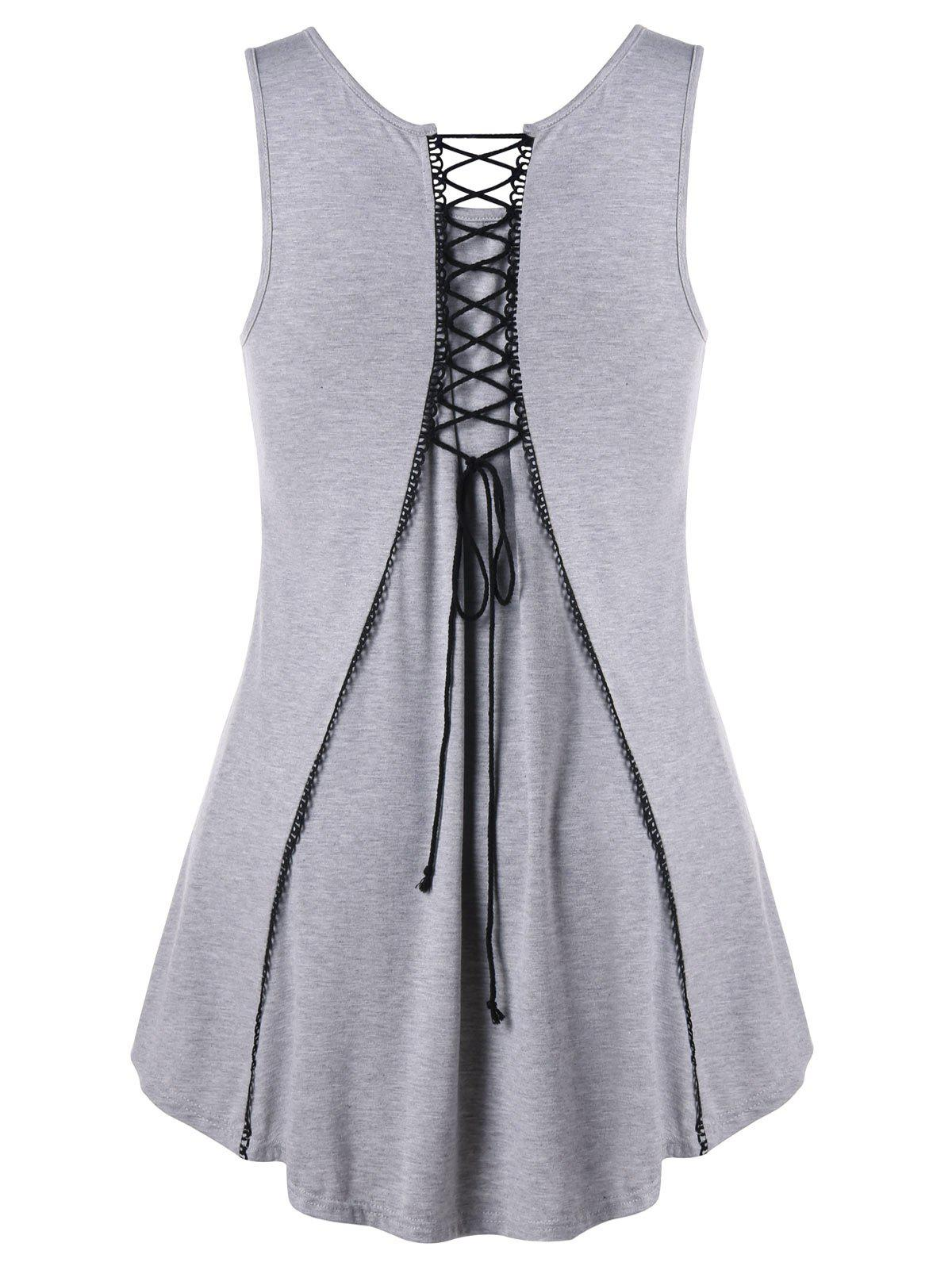 Plus Size Lace Up Dip Hem Tank Top ruffle dip hem smock top