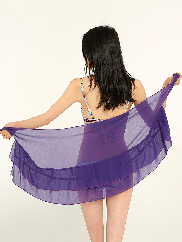 Simple Solid Color Double Layers Long Scarf - PURPLE IRIS ONE SIZE