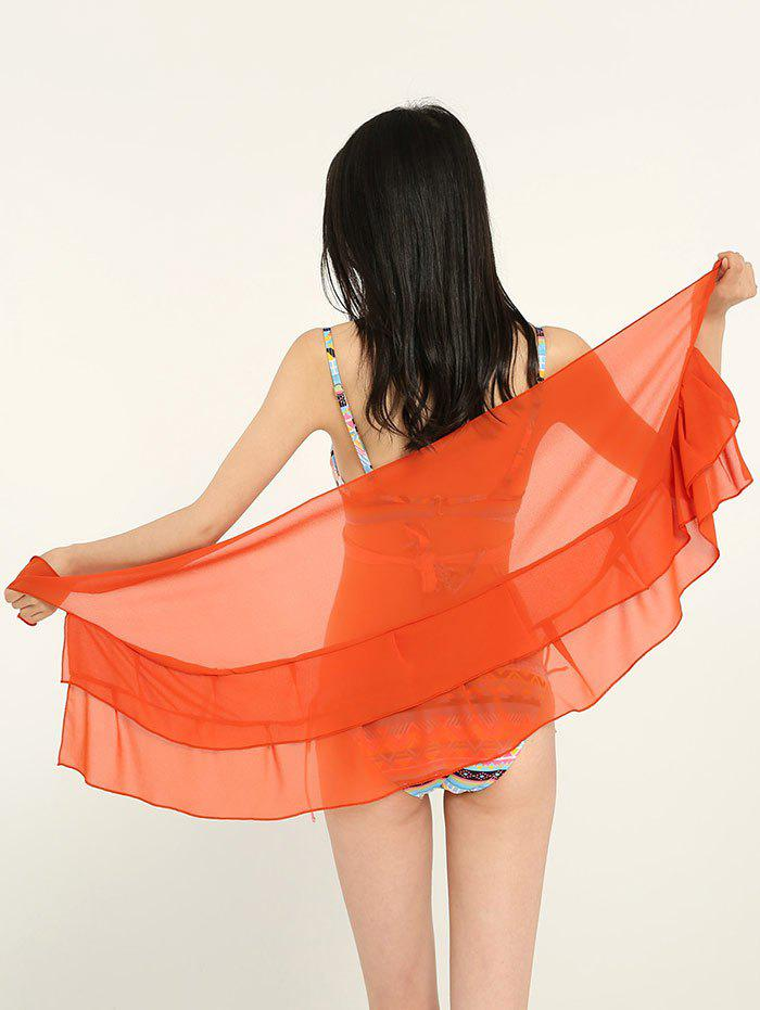 Simple Solid Color Double Layers Long Scarf - PUMPKIN ORANGE ONE SIZE
