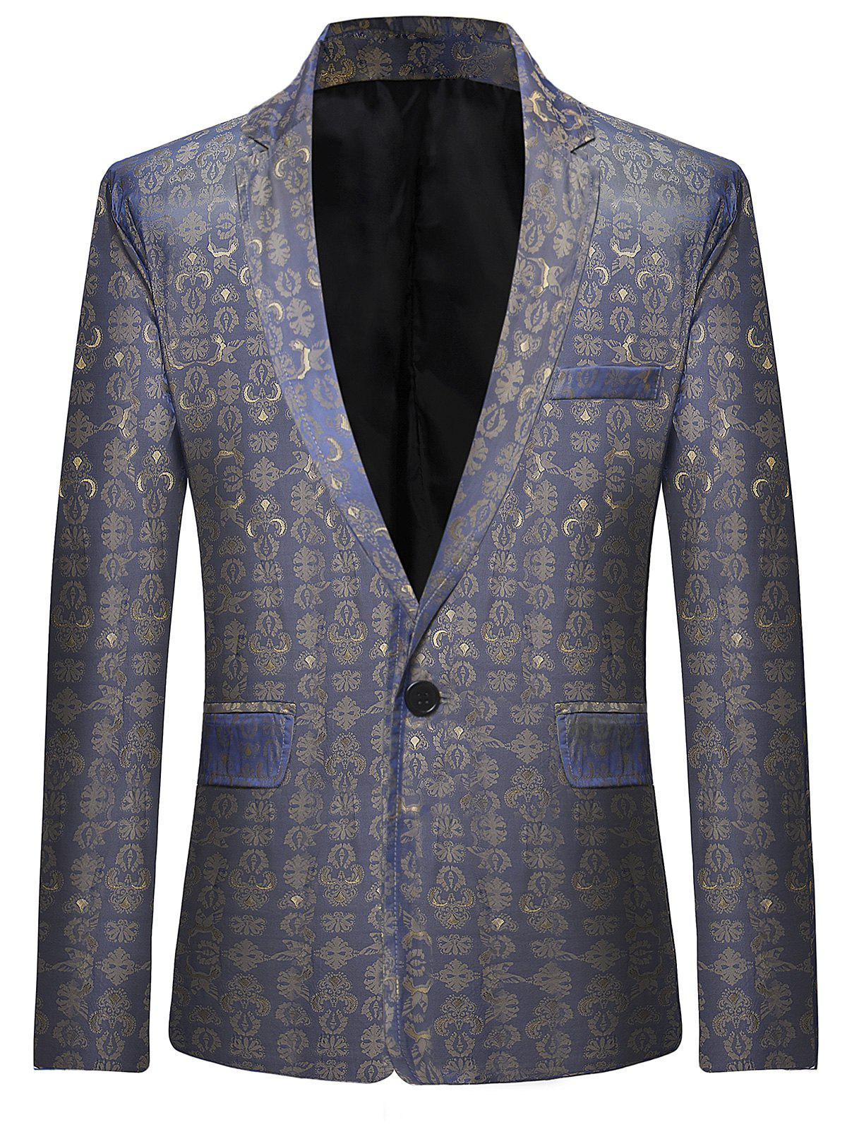 Retro Pattern One Button Lapel Blazer - SLATE BLUE L