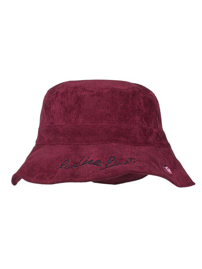 Animal Embroidery Sun Shades Bucket Hat - BURGUNDY