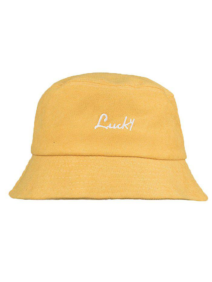 UV Protection LUCKY Embroidery Sunscreen Hat - RUBBER DUCKY YELLOW
