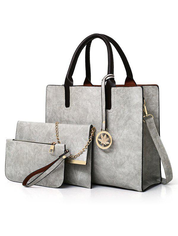 3 Pieces Simple Style Business Tote Bag Shoulder Bag Clutch Set - LIGHT GRAY