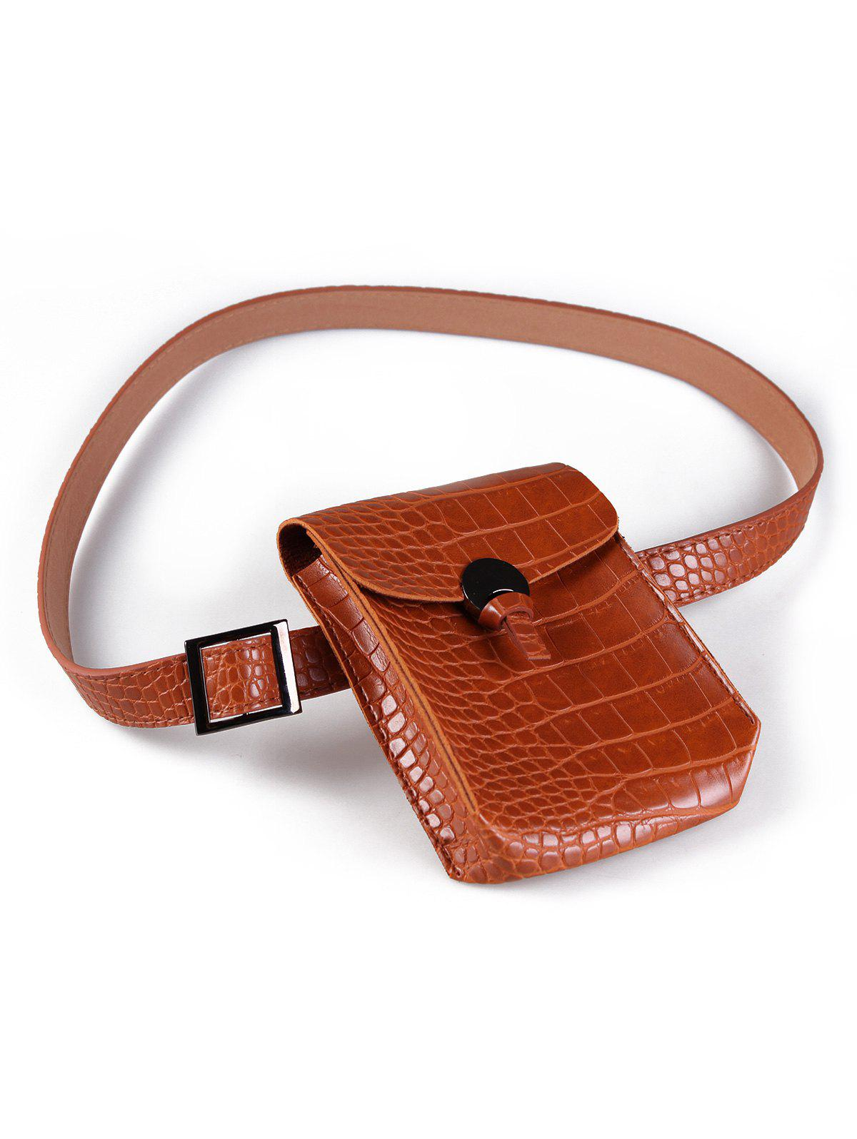 Vintage Funny Bag Crocodile Faux Leather Waist Belt - ORANGE SALMON