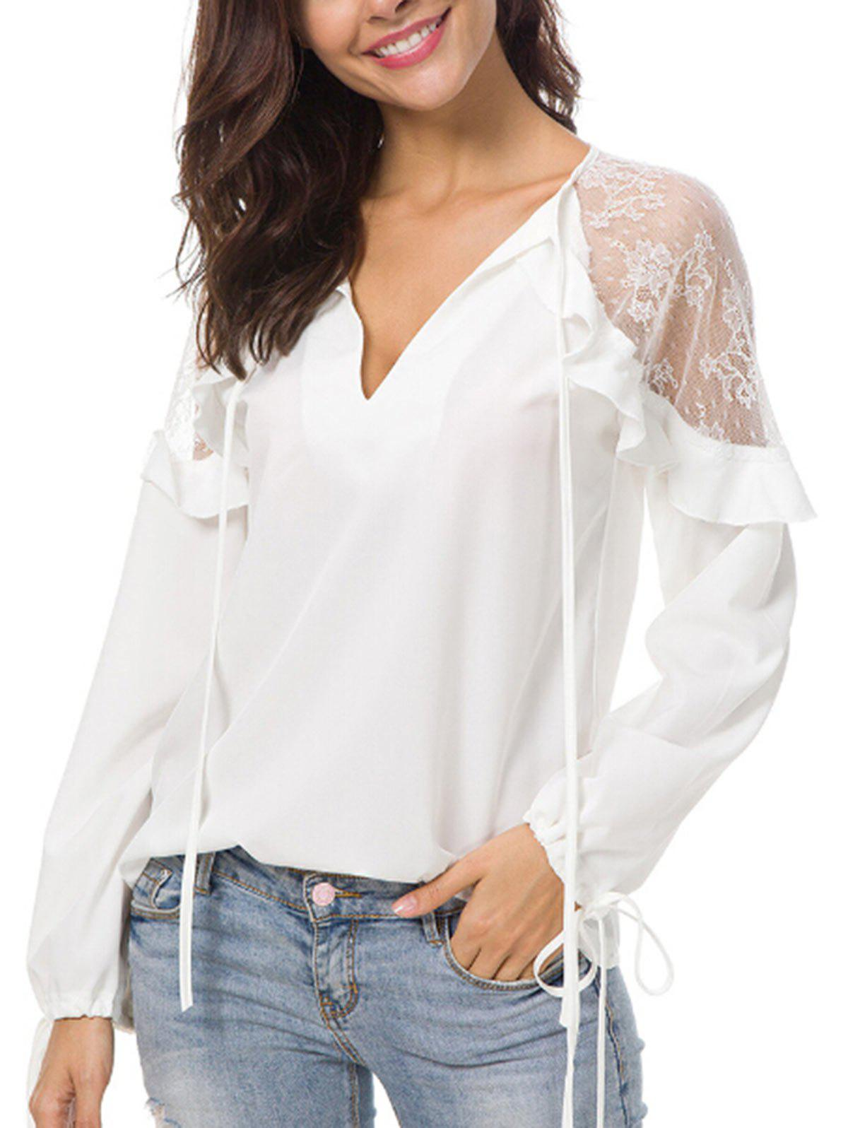 Ruffle Insert Long Sleeve Blouse - WHITE L