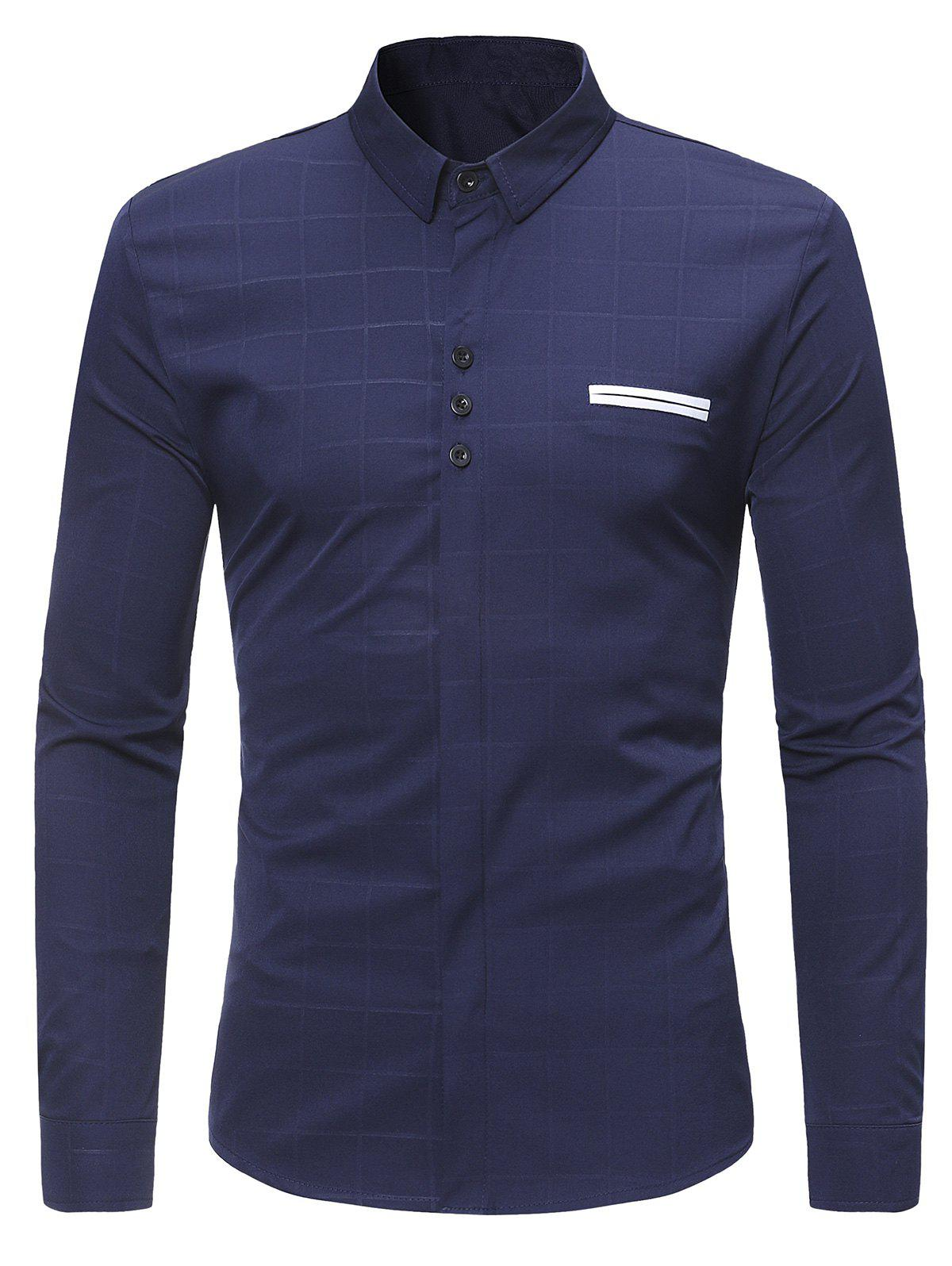 Turndown Collar Covered Button Check Shirt - MIDNIGHT BLUE M