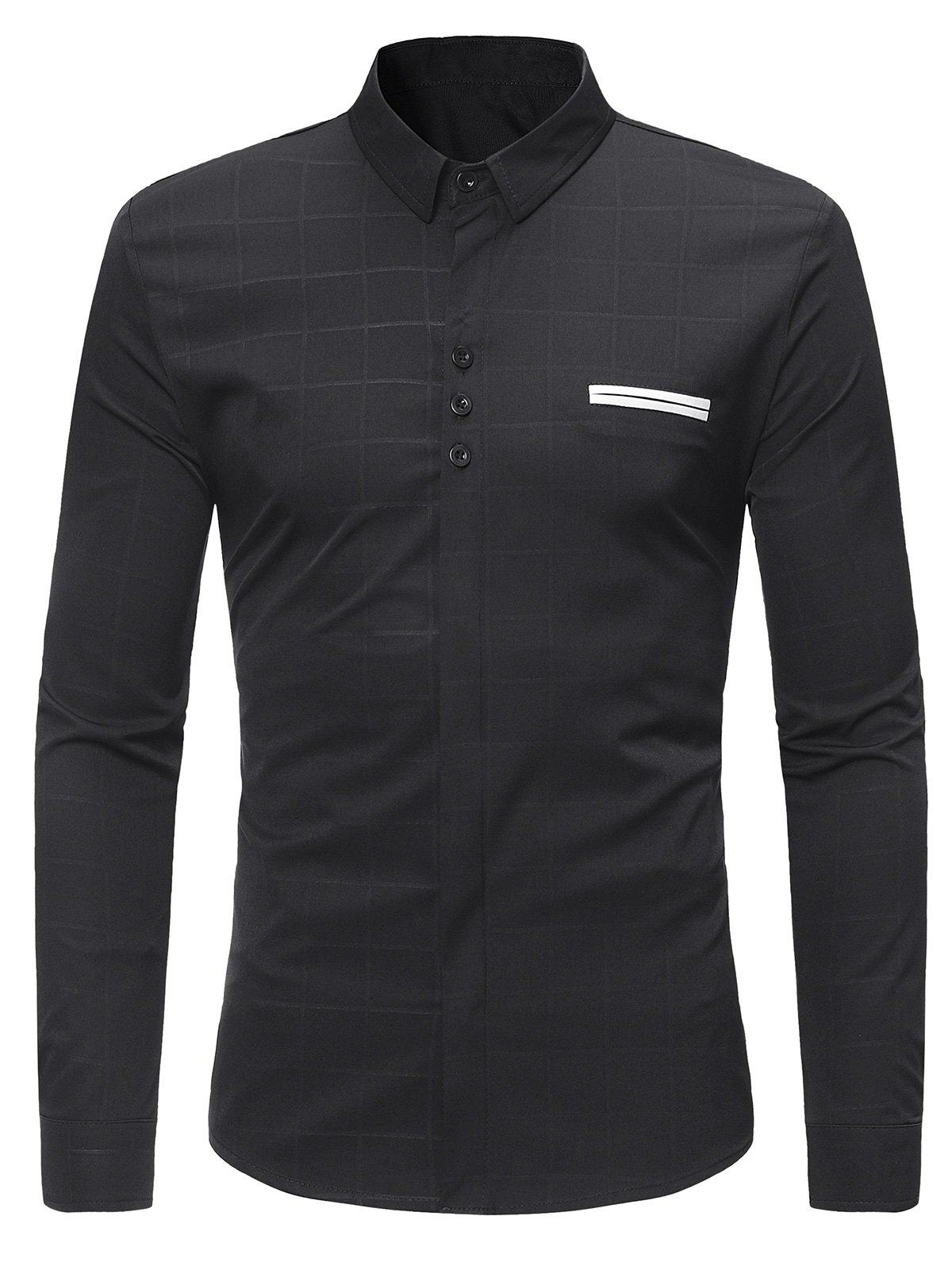 Turndown Collar Covered Button Check Shirt - BLACK M