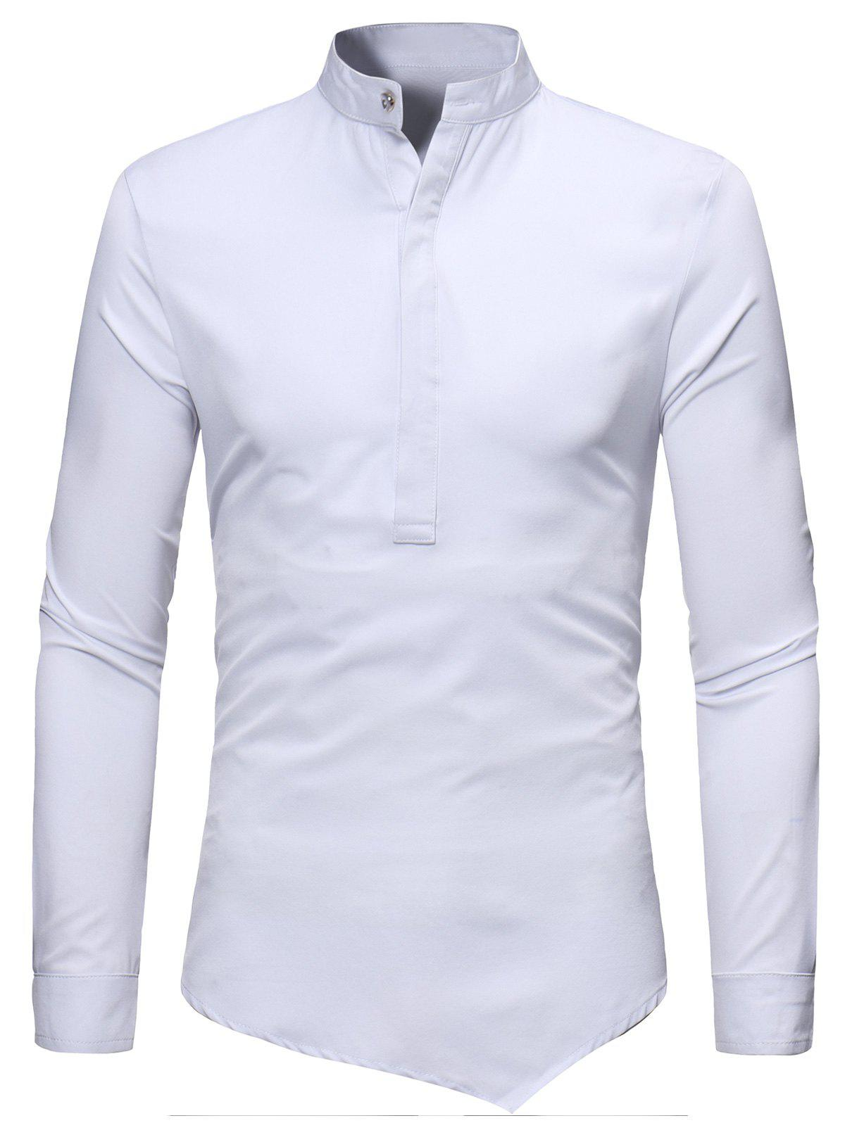 Mandarin Collar Half Button Asymmetric Tee - WHITE S