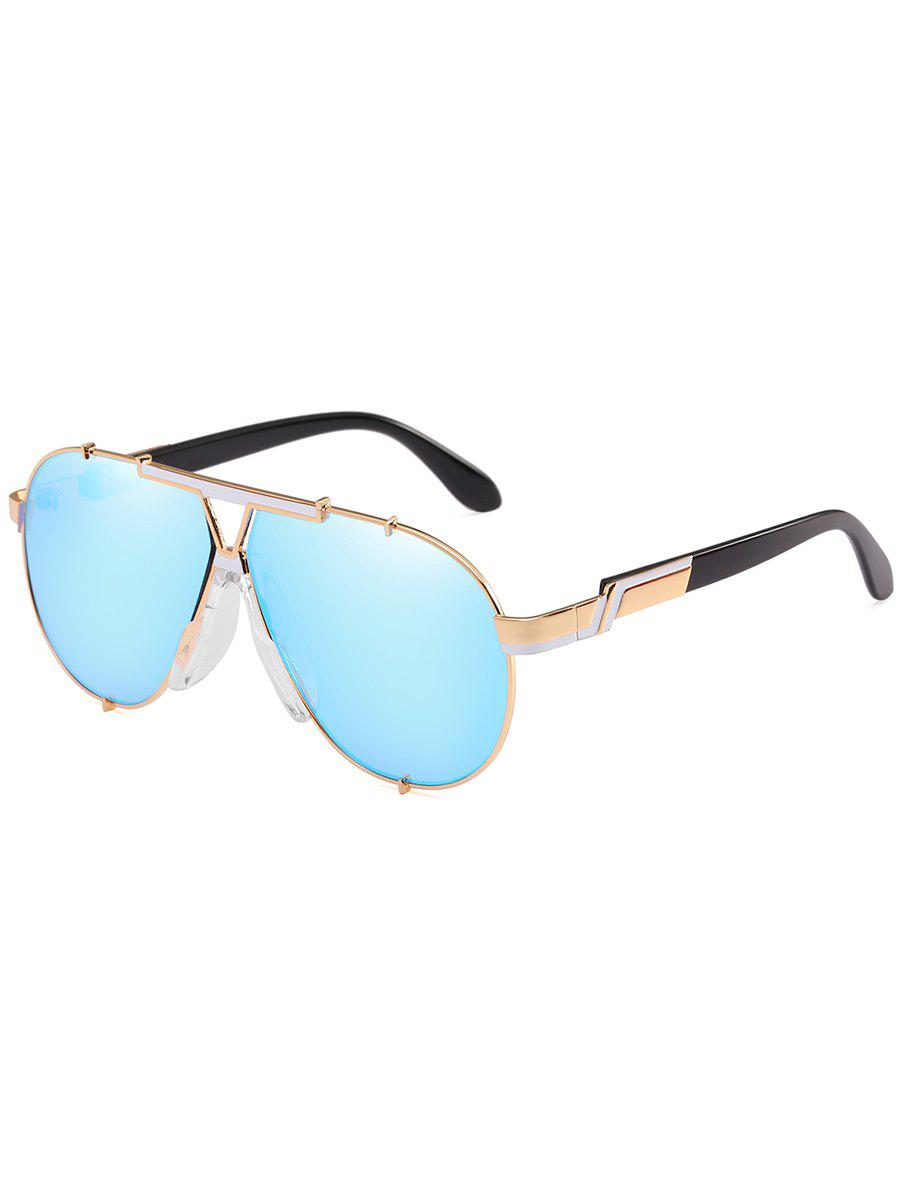 Anti Fatigue Metal Full Frame Shield Sunglasses - DAY SKY BLUE