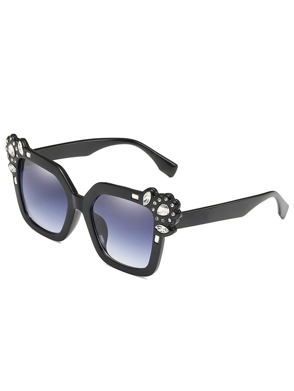 Rhinestone Inlaid Embellished Oversized Sunglasses - BLACK