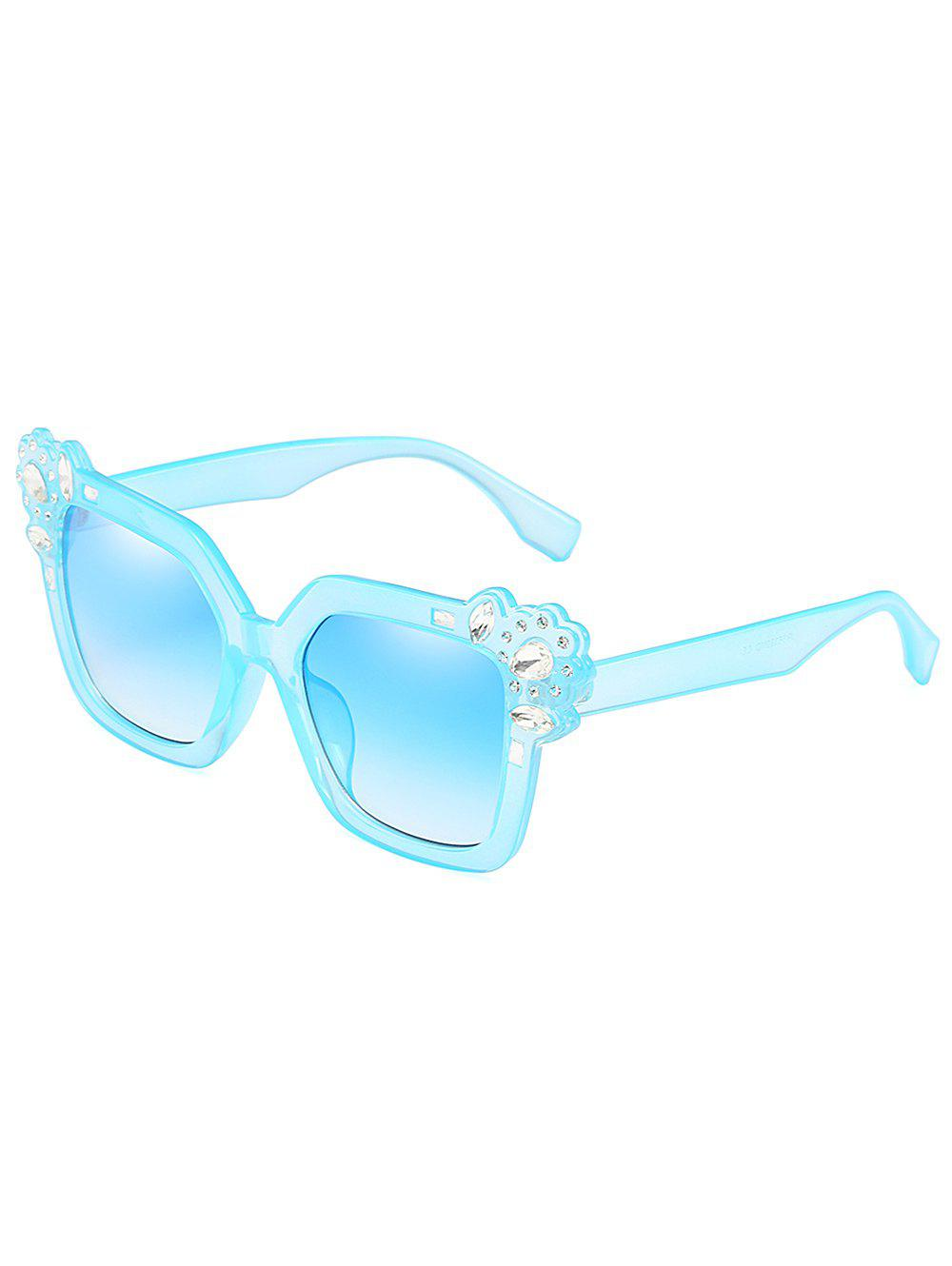 Rhinestone Inlaid Embellished Oversized Sunglasses - DAY SKY BLUE