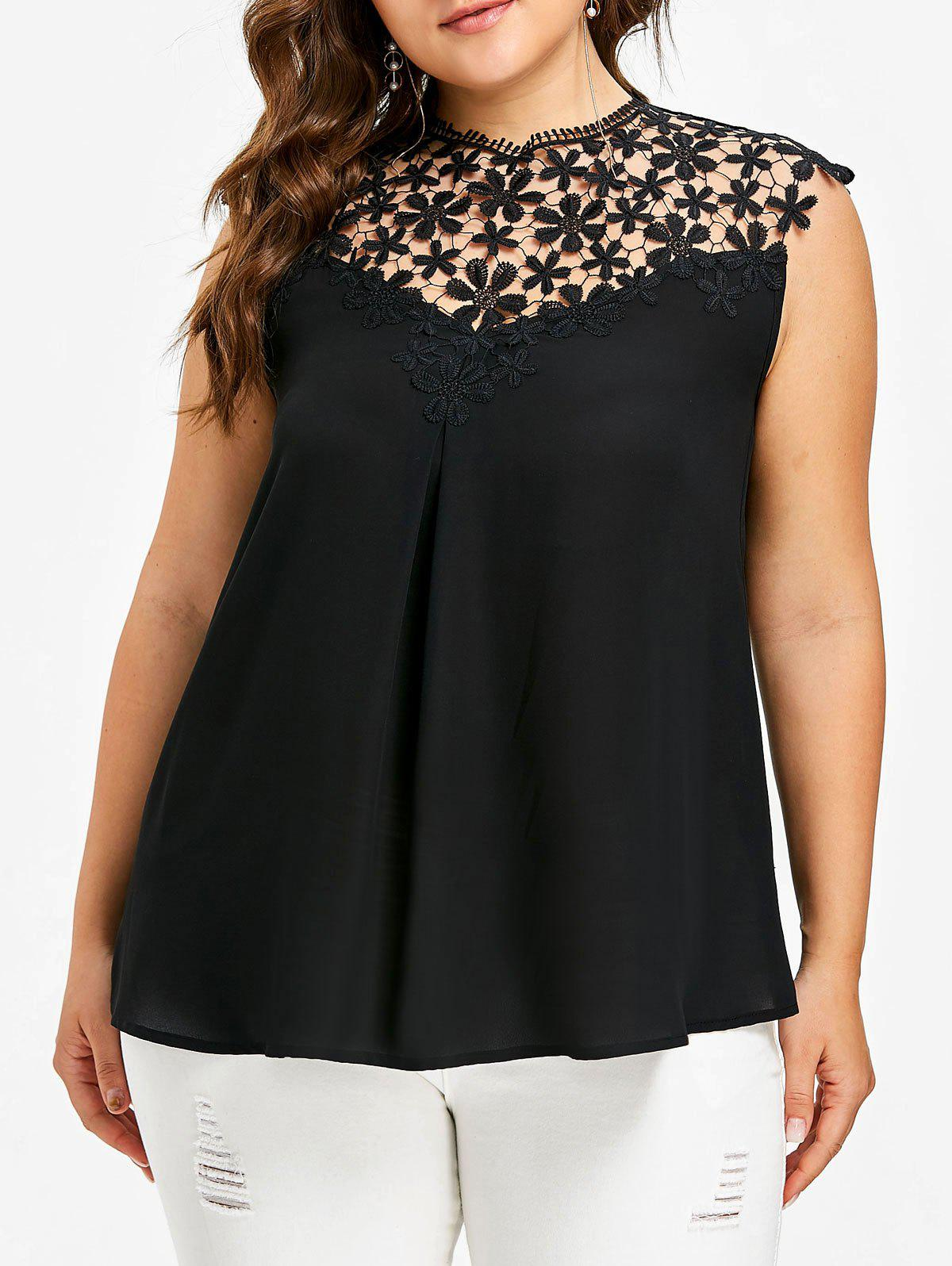 Crochet Insert Plus Size Sleeveless Top - BLACK 4XL