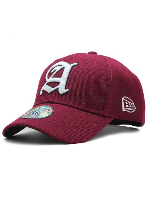 Simple Letter Embroidery Adjustable Graphic Hat - RED WINE
