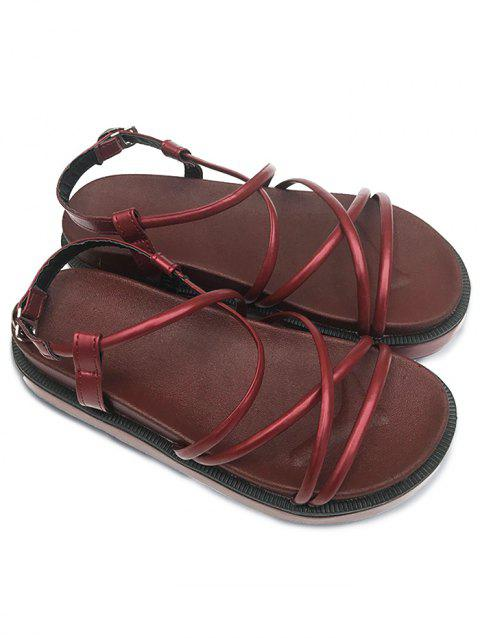 PU Leather Cross Strap Rubber Sandals - RED WINE 37