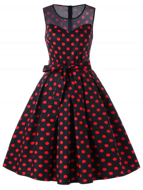 Polka Dot Sleeveless 50s Dress - BLACK/RED L