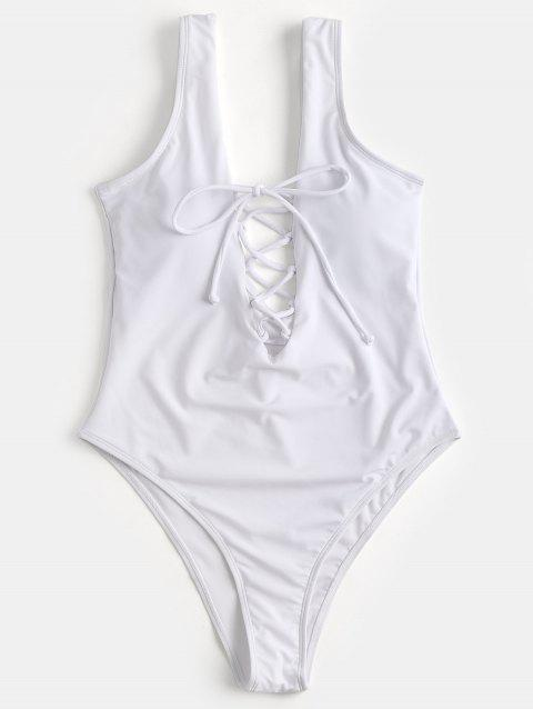 Lace Up One Piece High Cut Swimwear - WHITE M