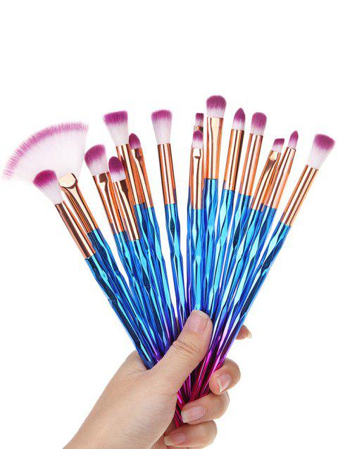 15 Pcs Ombre Hair Beauty Tool Makeup Brushes Set - multicolor A
