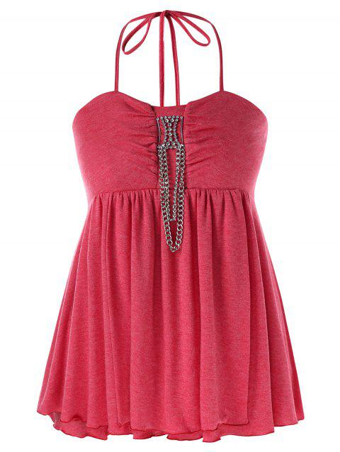 Plus Size Halter Neck Chains Embellished Tank Top - RED 4XL