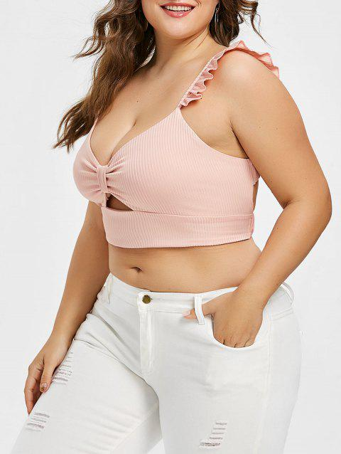 143fe0d5f35 LIMITED OFFER  2019 Plus Size Open Back Crop Top In LIGHT PINK 4X ...