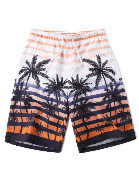 Coconut Tree Beach Bermuda Shorts - ORANGE 2XL