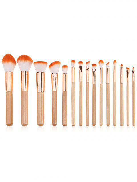 15Pcs Beauty Tools Ombre Hair Makeup Brushes Set - BURLYWOOD