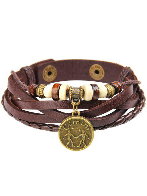 Hot 12 Constellation Round Pendant Charms PU Leather Bracelet - multicolor I