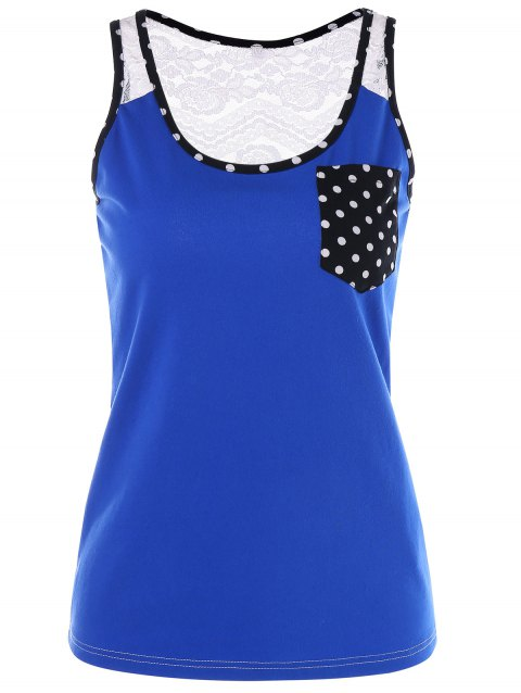 See Through Lace Panel Pocket Tank Top - BLUE 2XL