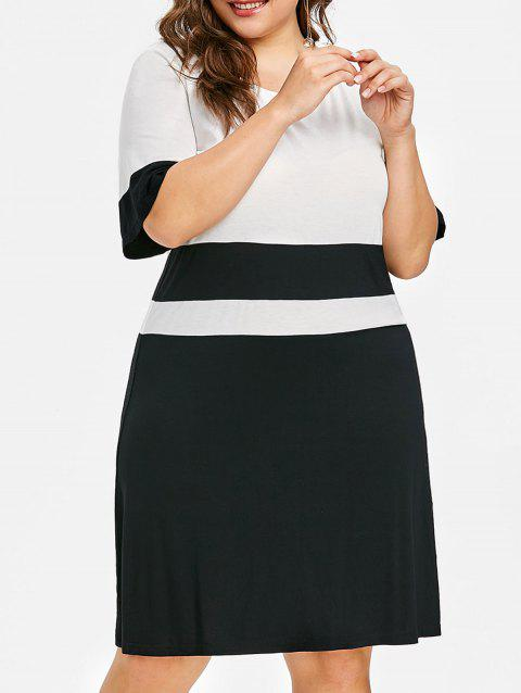 Contrast Plus Size Work dress - WHITE/BLACK 2XL