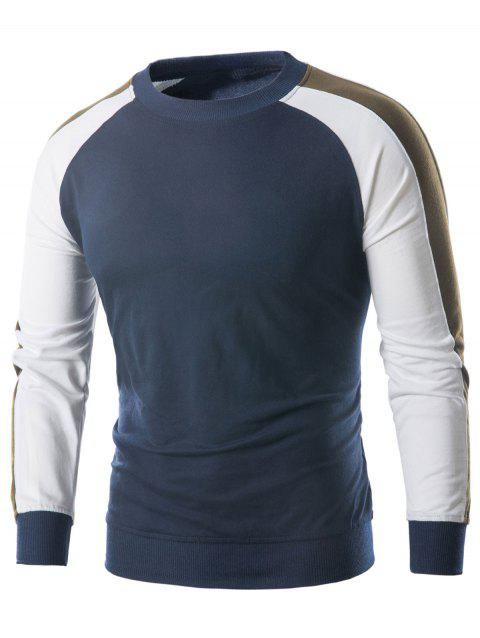 Raglan Sleeve Panel Sweatshirt - MIST BLUE L
