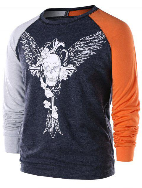 Long Sleeve Skull Wings T-shirt - DARK GRAY XL