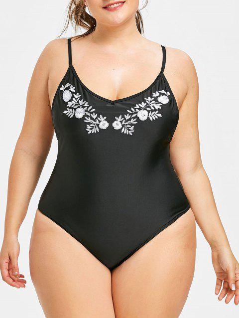 Plus Size One Piece Contrast Embroidery Swimwear - BLACK 5XL