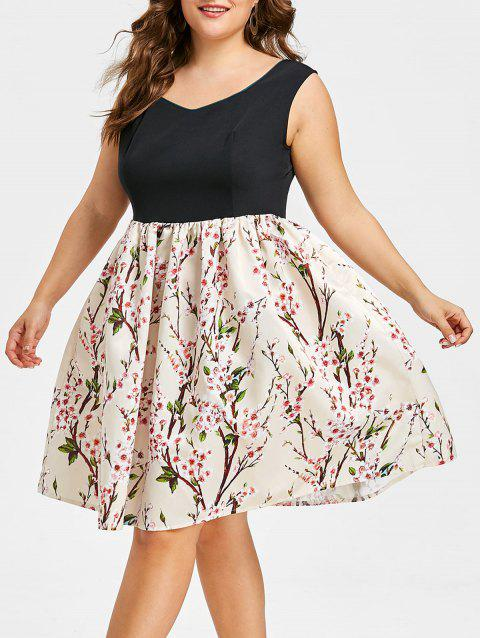 Plus Size Flower Sleeveless Dress - multicolor 1X