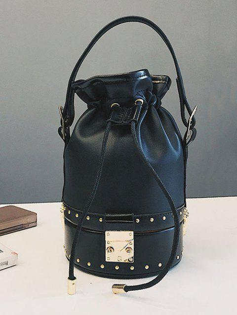 Studded Rivet Strawstring Crossbody Bucket Bag - BLACK